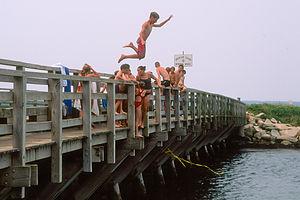 Tommy jumping off Memorial Bridge