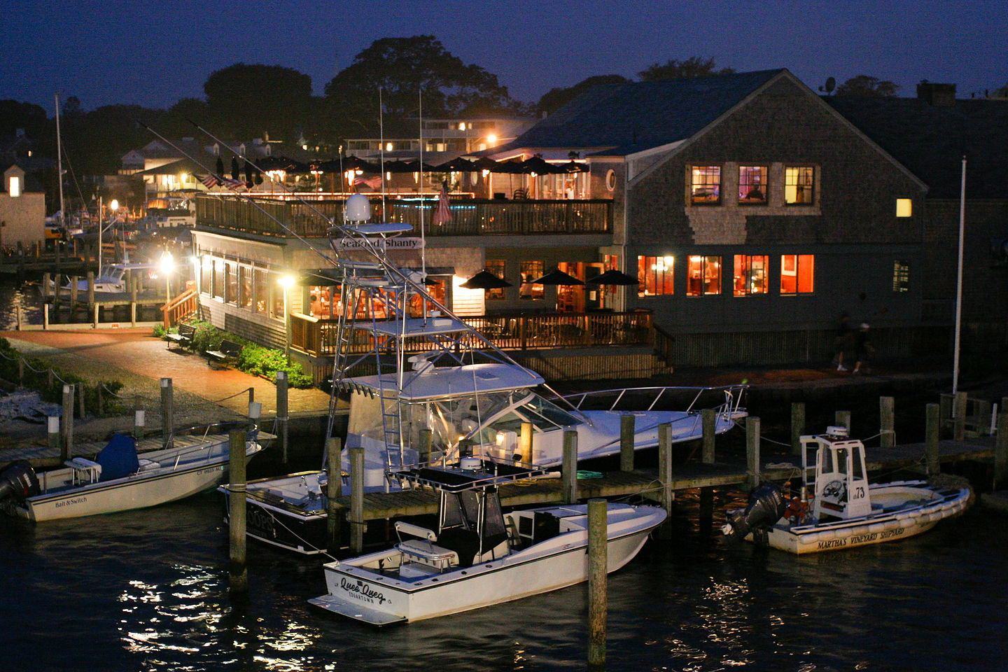 Night View from Memorial Wharf of Seafood Shanty