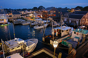 Night View from Memorial Wharf of Fishing Boats