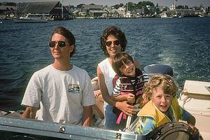 Family on Grady cruising Edgartown Harbor