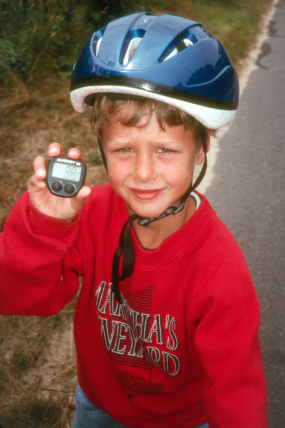 Tommy with first 100 bicycle mile Vineyard Vacation