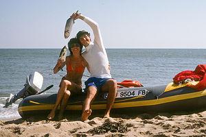 """Kissing Bluefish"" on Avon Raft during Honeymoon"