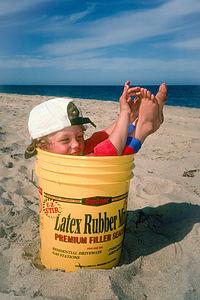 Tommy inside Bait Bucket