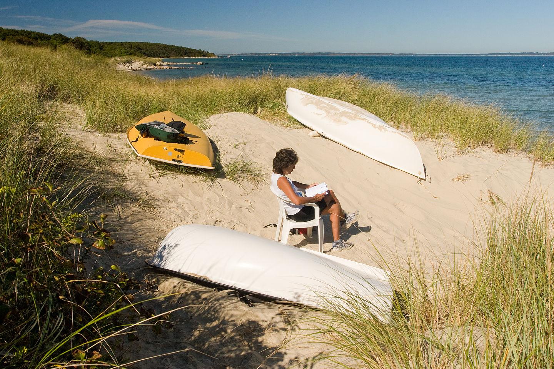 Lolo reading in Lamberts Cove Dune