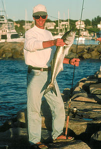 Herb with Nice Bluefish caught on Light Tackle - LEG