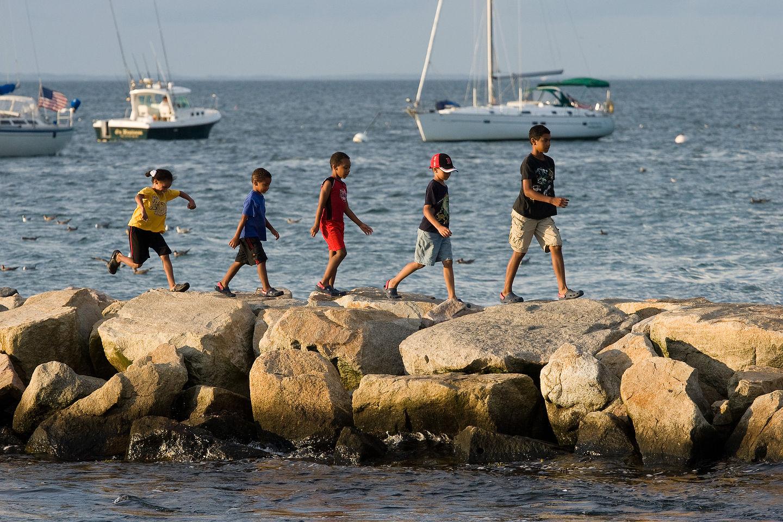 Kids Walking the Menemsha Jetty