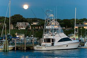 Motor Yacht Banjo by Moonlight