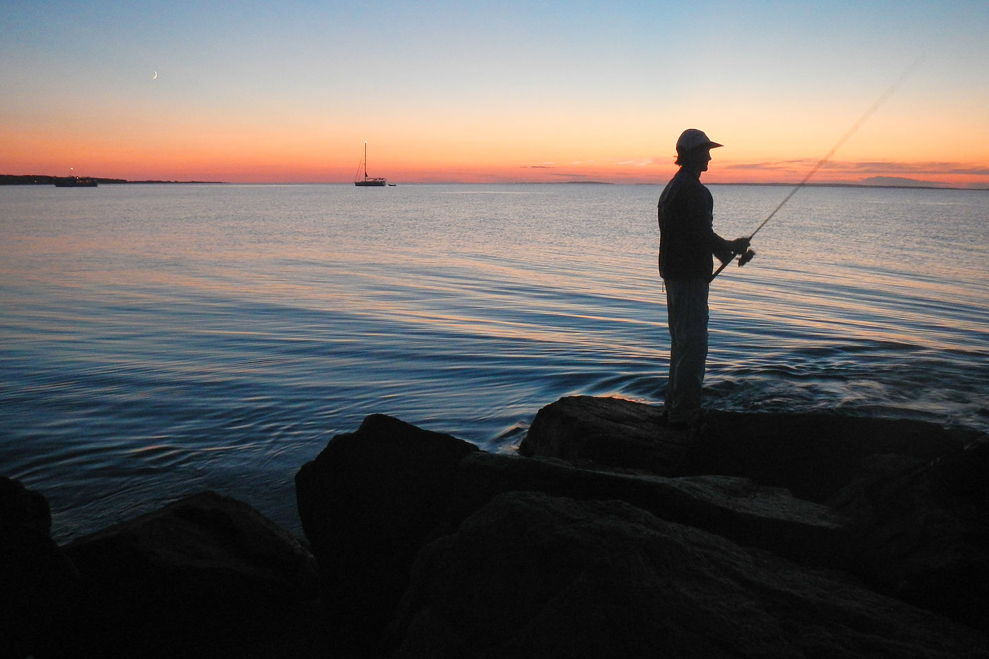 Dad Fishing Lobsterville at Sunset - AJG