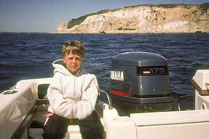 Tommy and Gay Head Cliffs during our Circumnavigation of the Vineyard