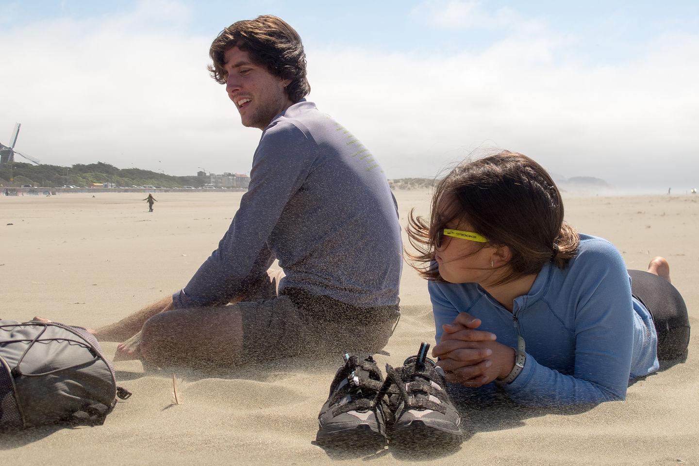Andrew and Celeste in Pelting Sand at Ocean Beach