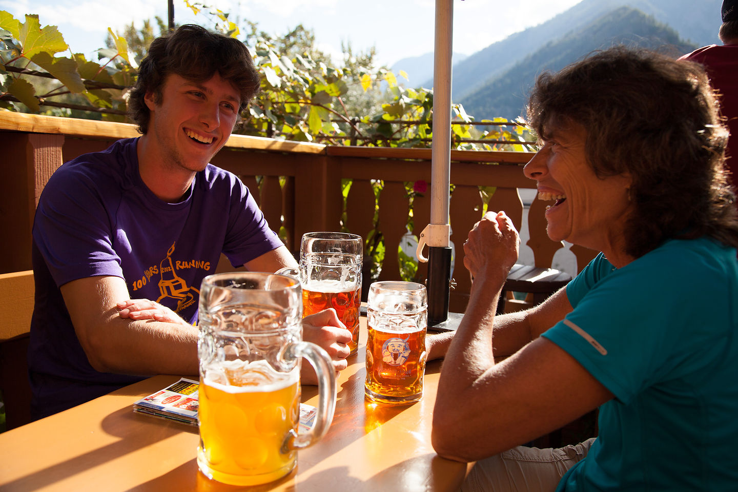 Tom and Lolo Enjoying Munchen Haus Beers