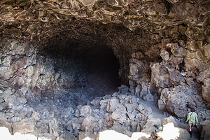 Lolo Approaching Lava Tube Cave Entrance