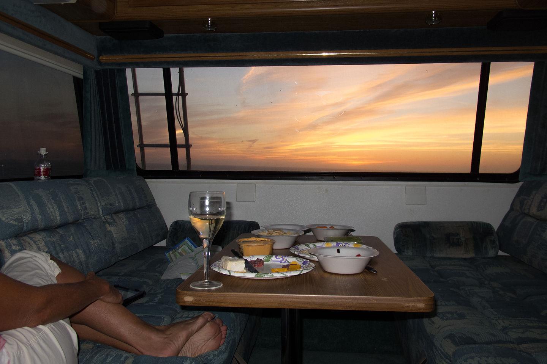 San Francisco RV Resort Sunset out of Lazy Daze Rear Window