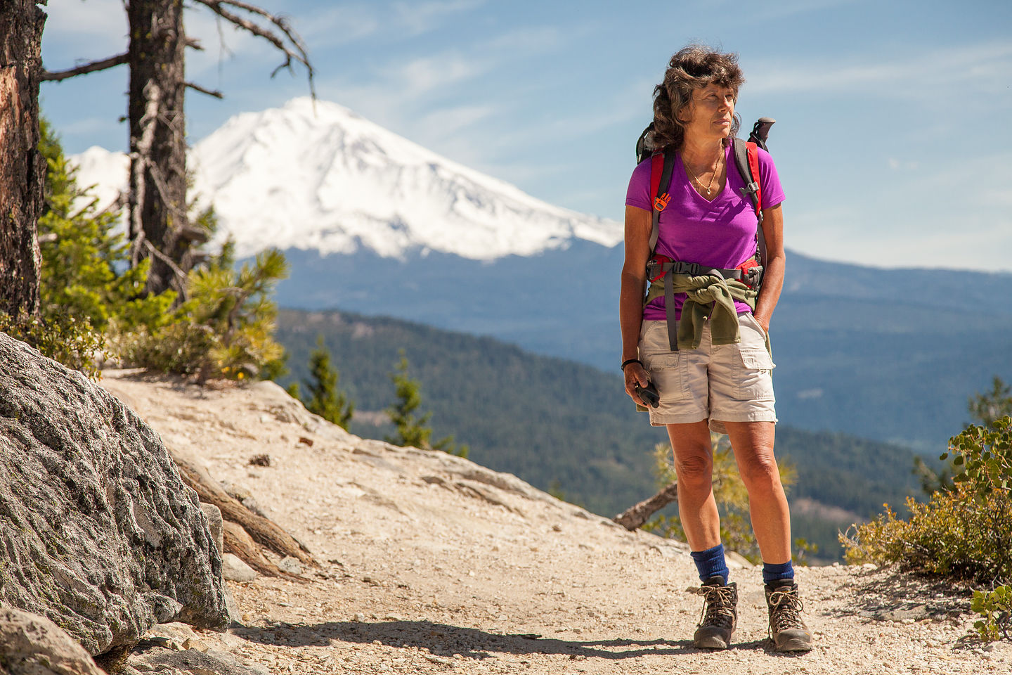 Lolo on Crags Trail and Mount Shasta