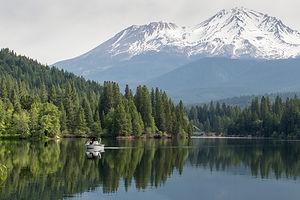 Lake Siskiyou Boat with Mount Shasta