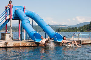 Andrew and Tommy in Synchronized Water Tube Slides