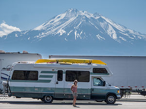 Lolo and Lazy Daze with Mount Shasta at I-5 Rest Stop