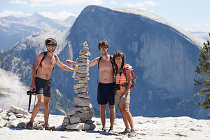 Family with Faux Dad Rock Cairn on route to North Dome
