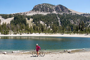 Lolo and Lake in Mammoth Mountain Bike Park