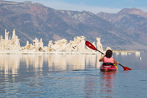 Lolo Kayaking among the Tufas of Mono Lake