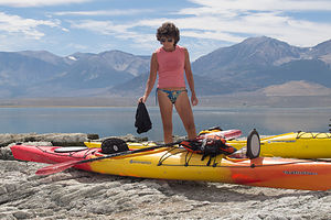 Lolo with Kayaks