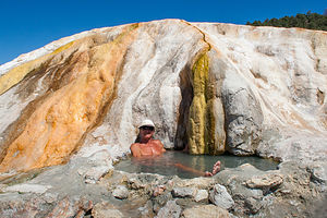 Travertine Hot Spring with Herb