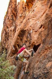 Tommy in Black Corridor of Red Rock Canyon