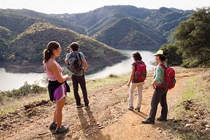 Hikers on Lake Sonoma Canoe Trail