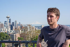 Tom with Mount Rainier and Space Needle