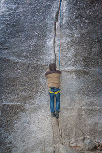 Tommy's First Crack Climb Wearing Mittens