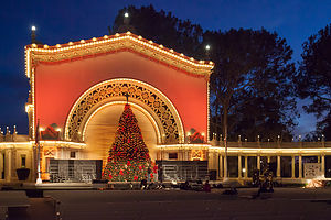 Practice Tree Lighting at the Spreckels Organ Pavilion