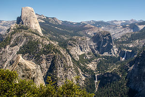 View of Vernal and Nevada Falls from Panorama Trail