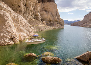 Lolo in Cathedral Cove on Lake Mead