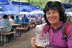 Lolo enjoying the Orleansplatz beer garden