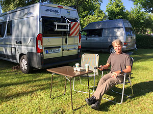 Herb enjoying his first day in the camper