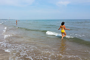 Lolo frolicking in the Adriatic Sea