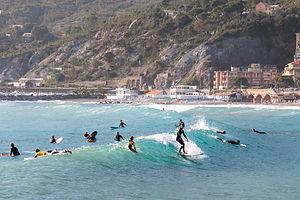 Surfers on Levanto Beach