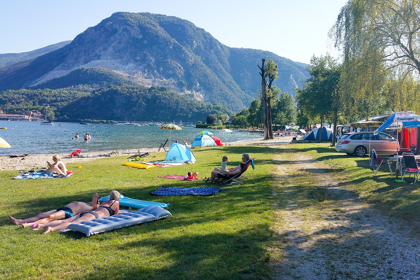 Campground beach on Lake Maggiore