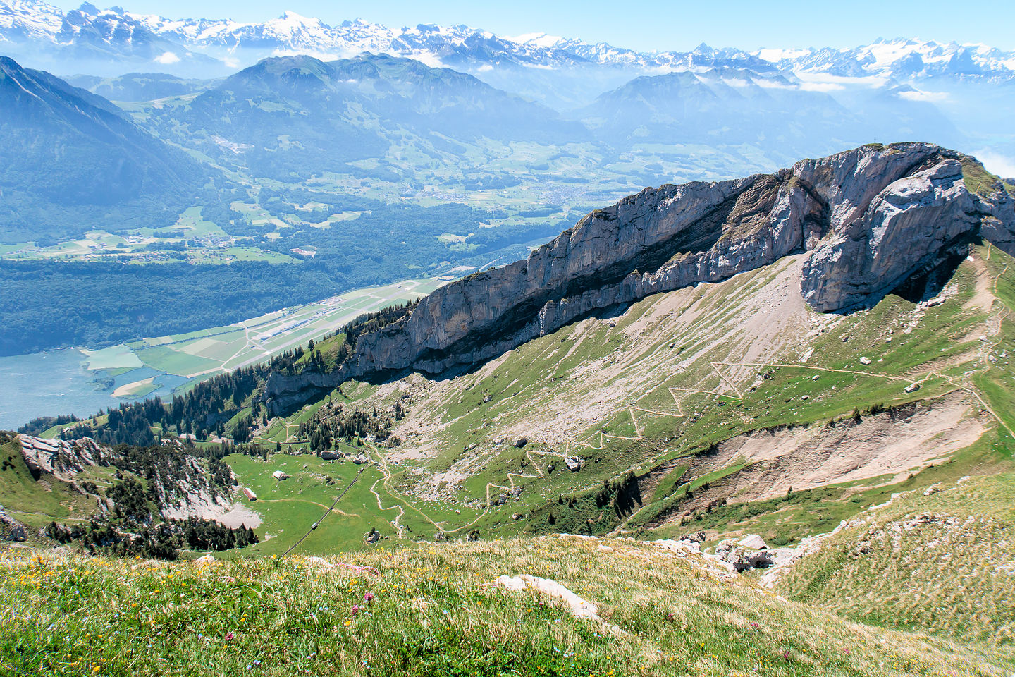 The switchbacks up Mt. Pilatus