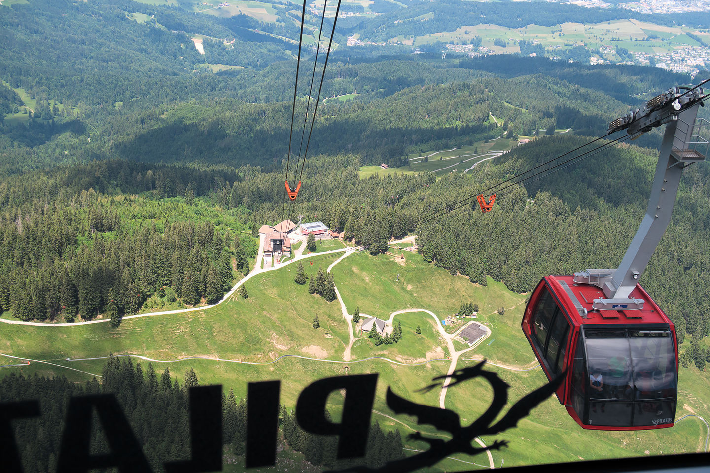 3rd leg of Golden Round Trip - cable car descent from Mt. Pilatus
