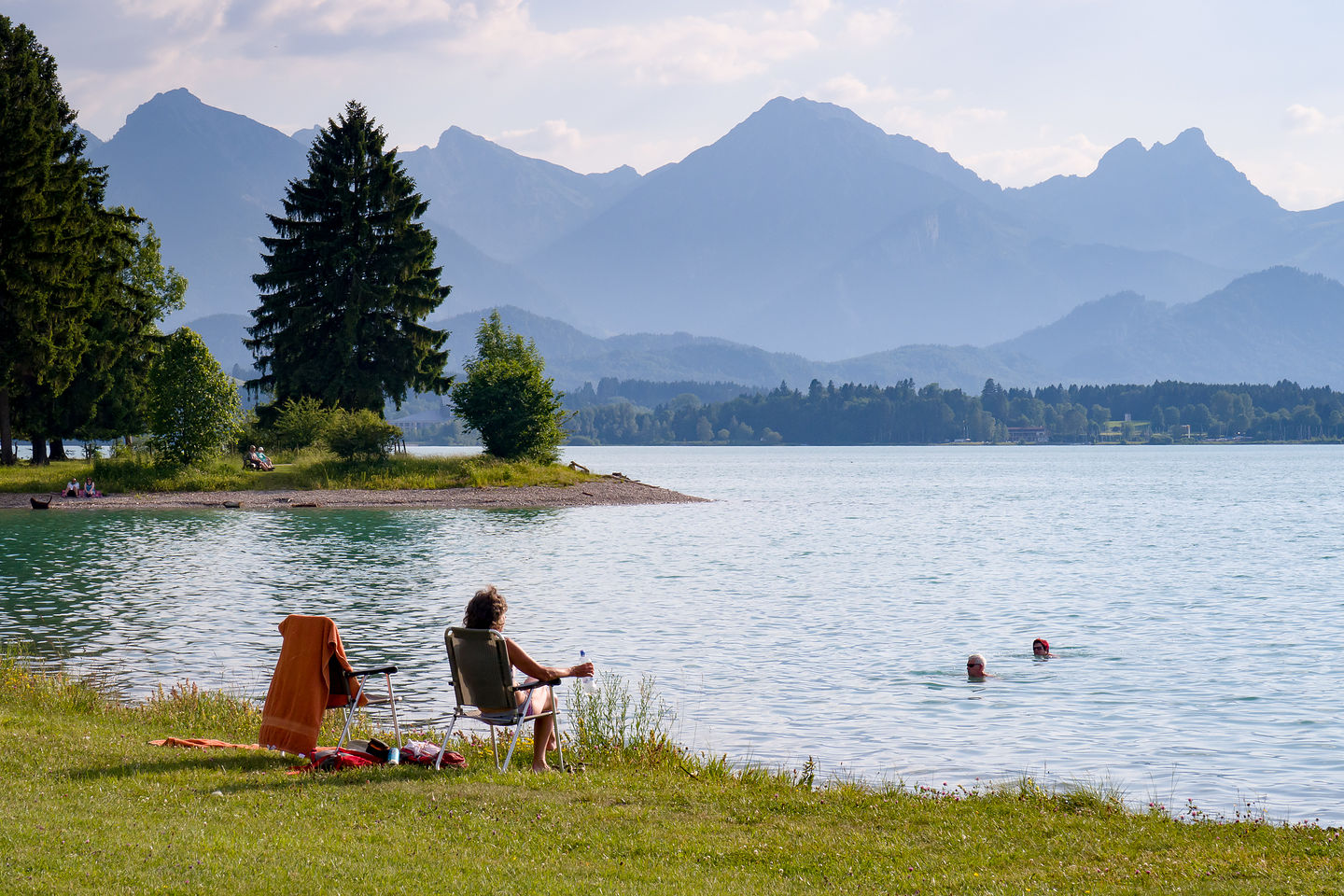 Our campground beach on the Forgensee