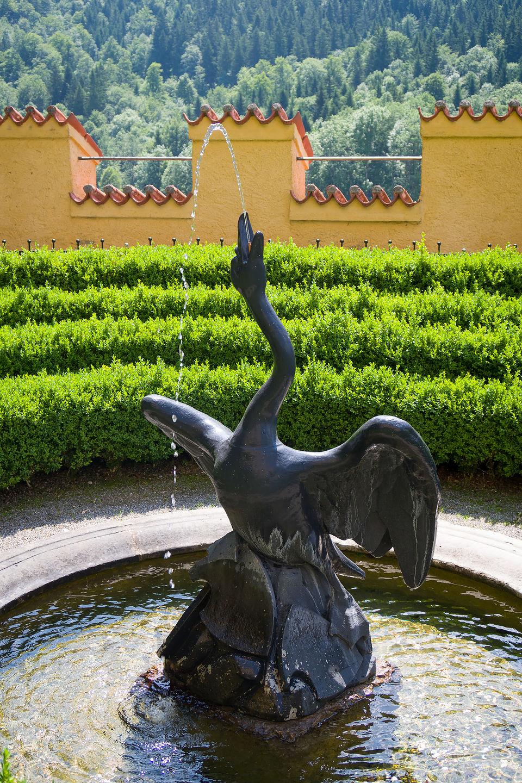 Swan statue in Schloss Hohenschwangau Garden