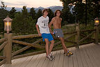 Boys post run on Chief Hosa lodge porch