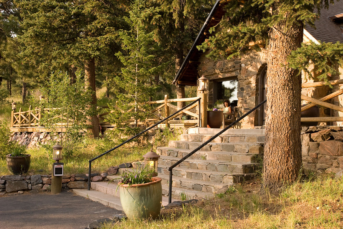 Lolo relaxing on Chief Hosa Lodge porch