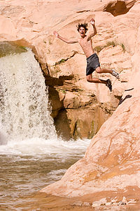 "Tom getting waterfall ""big air"""