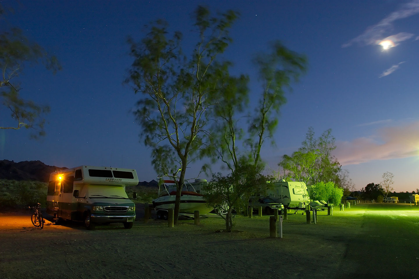 Lazy Daze at Lake Mead Campground by moonlight