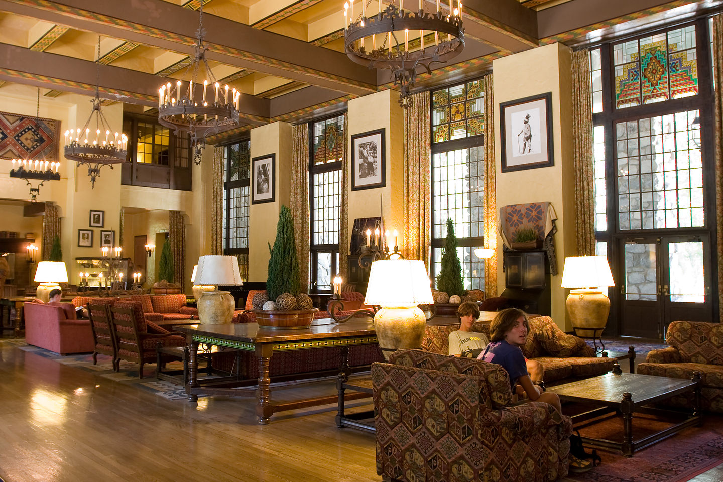 "Boys in Ahwahnee Hotel ""Great Lounge"""