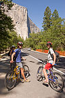 Lolo and boys on bikes approaching El Capitan