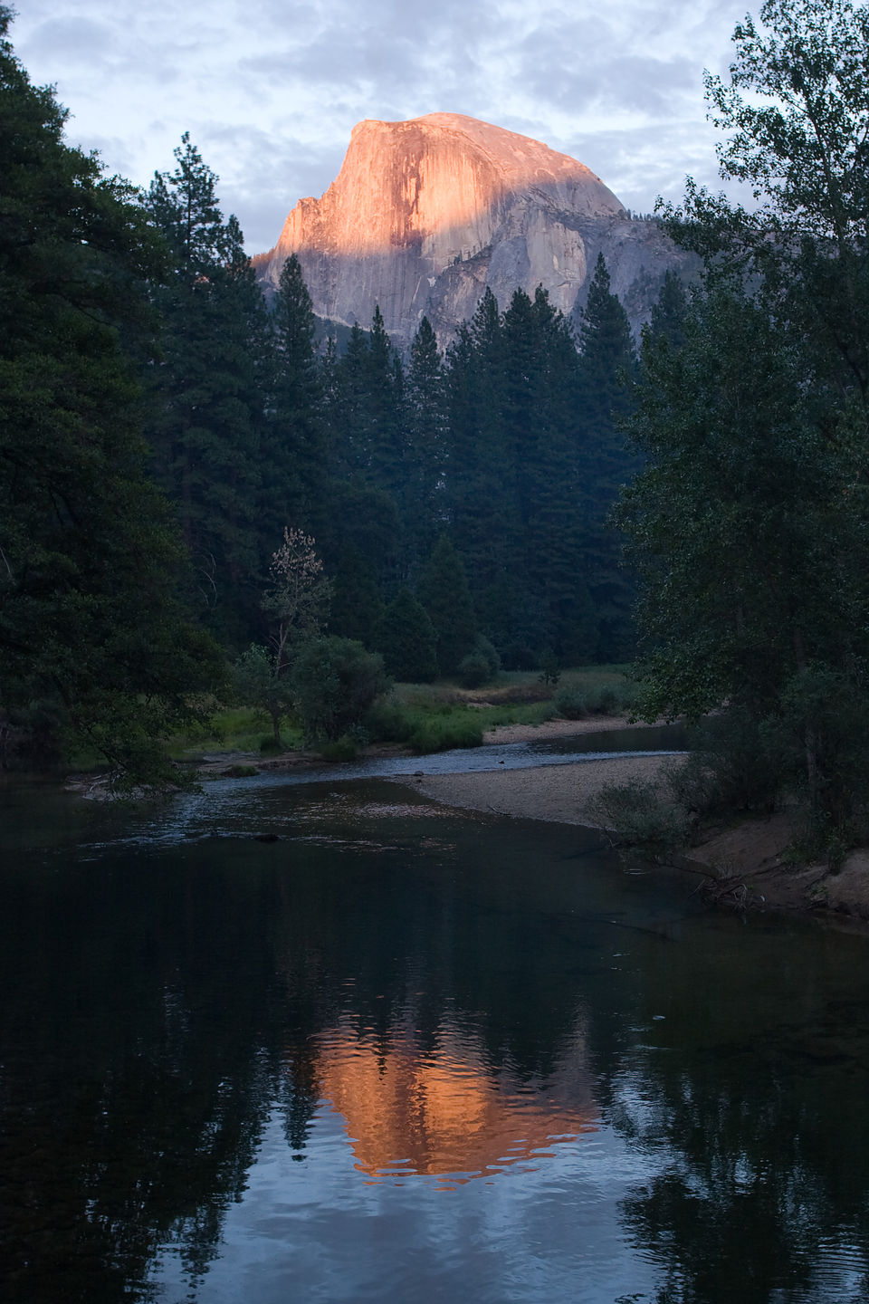 Half Dome alpenglow reflection