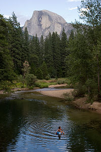 Half Dome from Sentinel Bridge with Andrew tubing